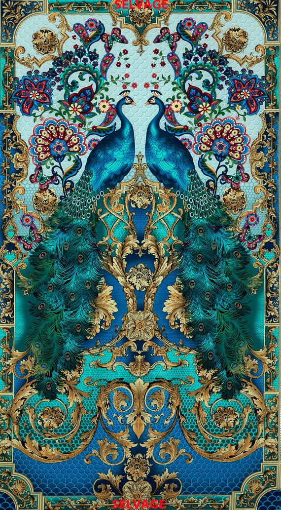"""RESERVED DR. V. Turquoise color Peacock print fabric from Timeless Treasures per panel"" Oh how lovely. and the butterflies are just as vibrant as the peacocks :)"