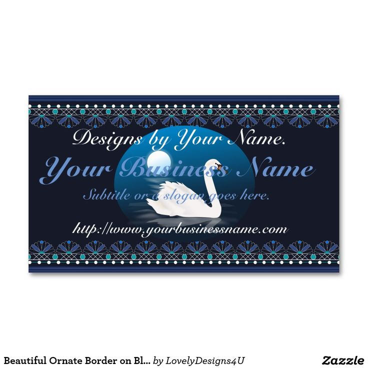 Beautiful Ornate Border on Blue with Swan at Night Business Card