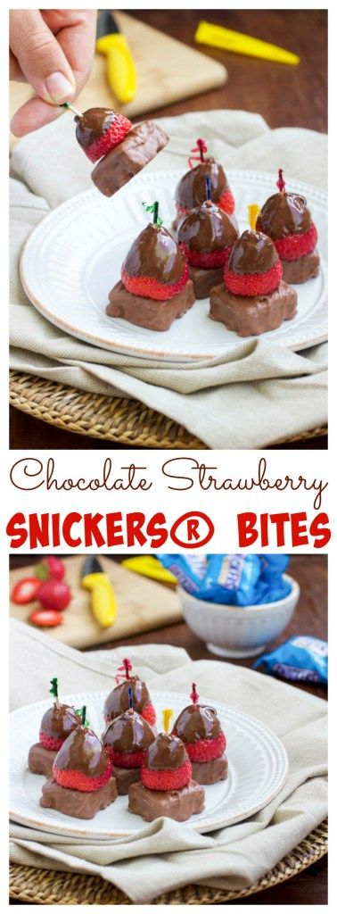 Get ready for the big game, with the easiest snack you'll ever make —> chocolate strawberry SNICKERS® bites! Chocolate dipped strawberries stacked on top of a SNICKERS® Crisper square are the perfect finger food to munch on while watching the big game! #SweetSquad [ad]