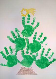 Handabdruck, Tannenbaum, Kleinkinder U3 Spielideen, Bastelideen, Buchtips und Kinder-/Familien-Rezepte