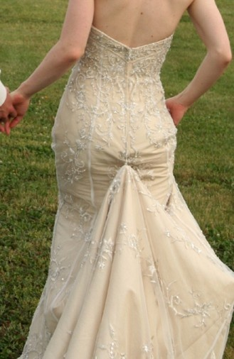 14 best images about wedding dress bustle on pinterest for How to display a wedding dress