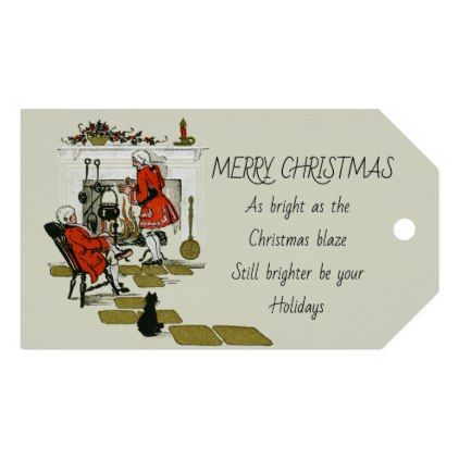 Vintage Victorian Christmas Fireplace Old Holiday Gift Tags - craft supplies diy custom design supply special