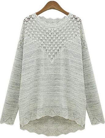 Grey Long Sleeve Hollow Loose Knit Sweater 21.67   For Ash