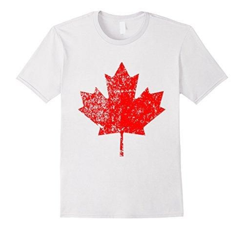 Men's Maple Leaf Canada Day Canadian Flag dry goose Shirt Medium White