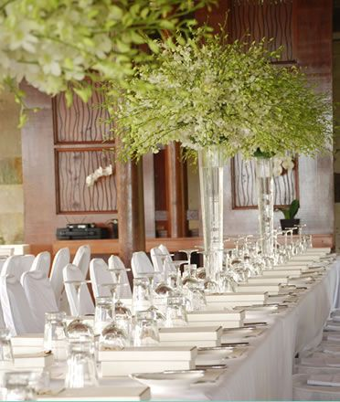 111 best bali wedding images on pinterest bali wedding beach tall green white orchid flower centerpieces long table wedding reception setting omg love this junglespirit Gallery