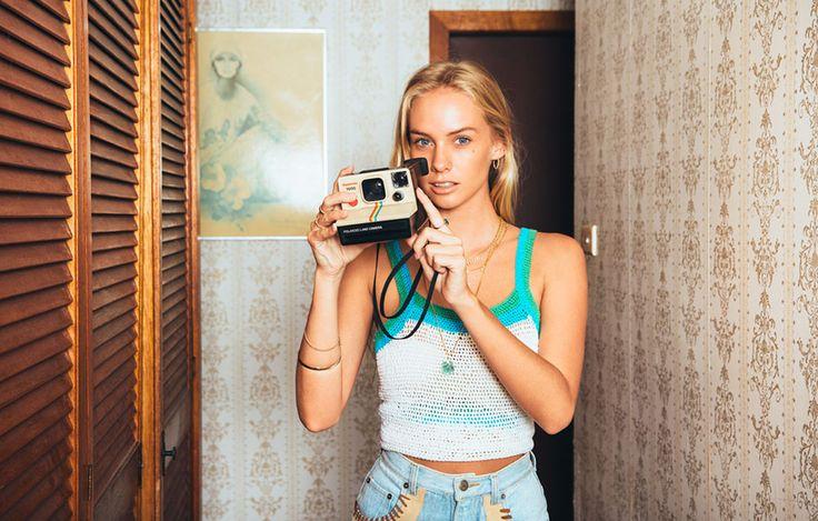 Brahminy Exchange | Santa Catalina summer campaign | Photographer David Hauserman | Model Abbie Steen | vintage, 1970s, 70s, California, flares, Polaroid, camera, crochet