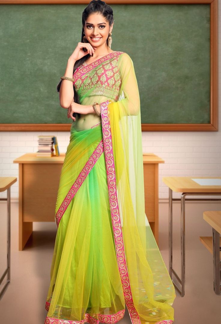 Green Net Saree with Zari and Sequins Work