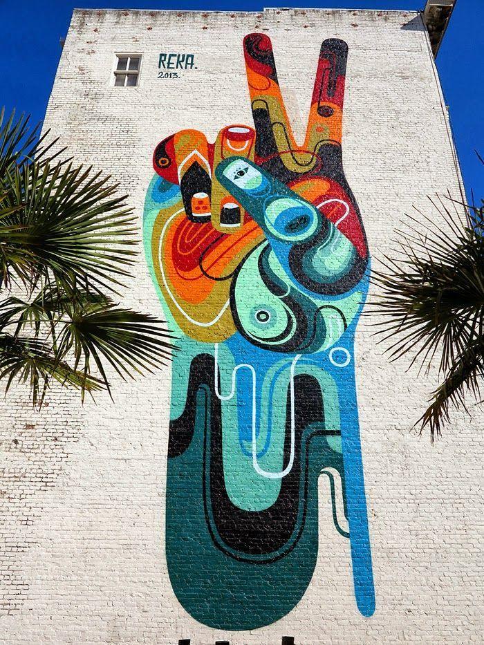 "Street Art 360° @StreetArtEyes1  REKA ""Peace. Man"" New Mural - San Francisco, USA #streetart #graffiti"