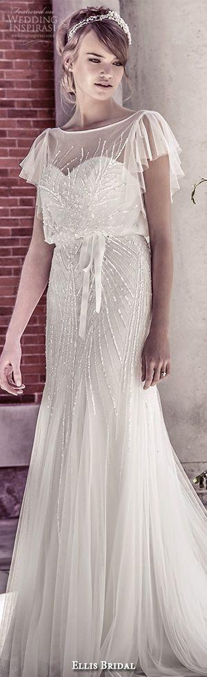ellis bridal 2015 wedding dress vintage flutter sheer sleeves sequins embellishment tulle fluted blouson gown style 15160 #weddingdress #sheathweddingdress