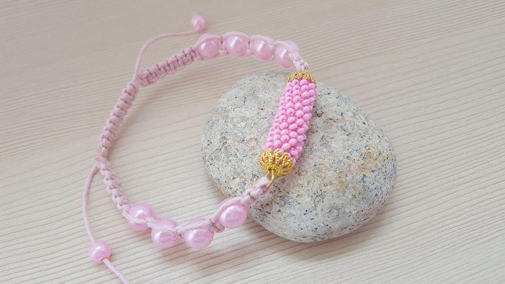 Bracelet a female Pink bracelet Gift to the woman  Gift for birthday. A bracelet from beads. by ManybraceletsDesign on Etsy