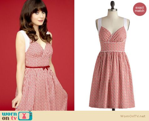 Jess's red and white square printed dress on New Girl Season 3 Promotional Posters.  Outfit details: http://wornontv.net/18120/