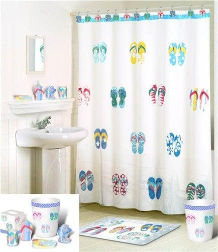 Product: Flip Flops Toothbrush Comforter Bedspreads Sheets Bedskirts  Kitchen Cu. Beach House BathroomFabric Shower CurtainsBeach ...  Flip Flop Shower Curtain