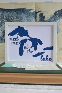 Meet Me At the Lake paper cut art by Michigan Artist Type Shy