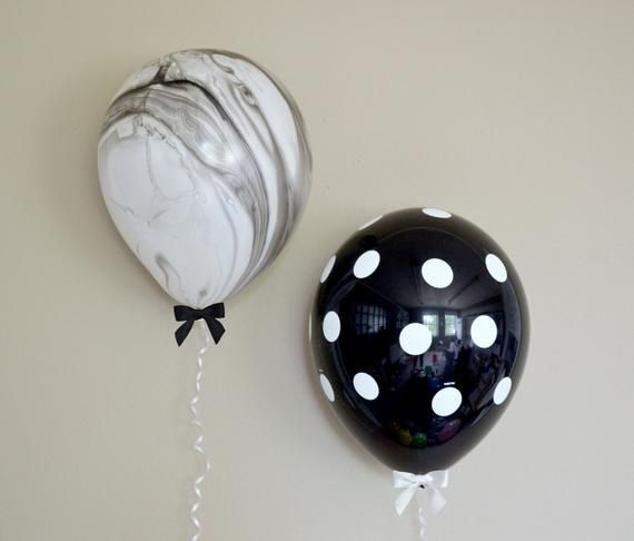 "11 ""Black & White Tie Dye + Polka Dot Balloon + Bow Set – 6 Pack // Graduation Decor // First"