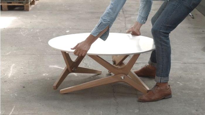 Une table convertible et design ! Deco design table scandinave elegante qui fait table de salon et se transforme en table de salle a manger. Table transformable campagne kickstarter design