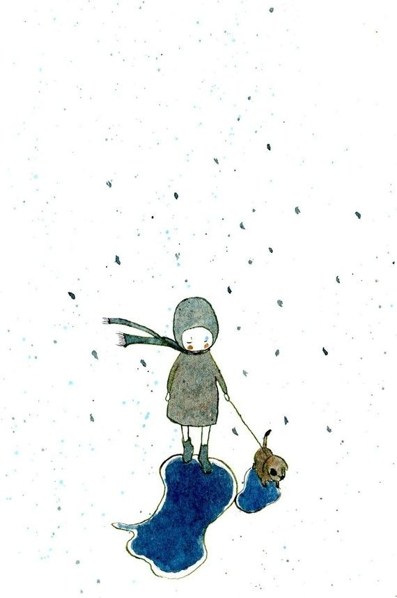 Rainy long walk - Print - 6x8 - Nursery art - Nursery decor - Kids room decor - Children's art - Children's wall art - kids wall art