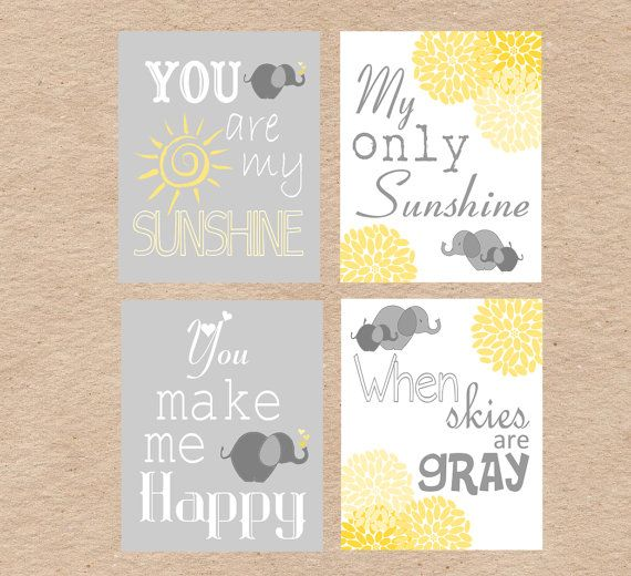 Elephant You Are My Sunshine Nursery Art DIY Printable by DecorableDesigns in Gray & Yellow
