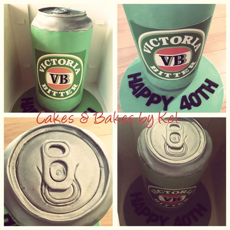 """A massive 11"""" tall chocolate mud VB beer can shaped cake today! Printed logo, handcrafted can and ring-pull, and covered cake board. Happy 40th Kev!!"""