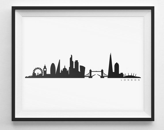 London Skyline Silhouette    Printable Skyline  by NimbleTurtleArt
