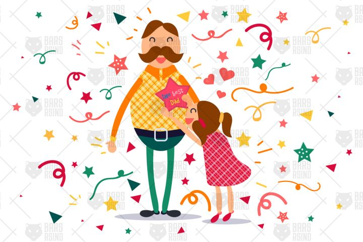 Happy Father With His Daughter By Barsrsind Shop