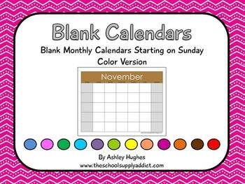 Blank Calendars with Sunday Start - Ashley Hughes - TeachersPayTeachers.com
