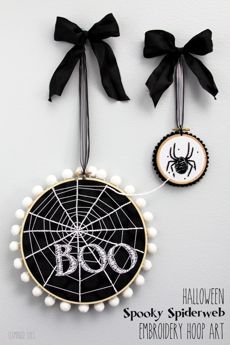 halloween spooky spiderweb hoop art halloween projectsdiy - Diy Halloween Projects
