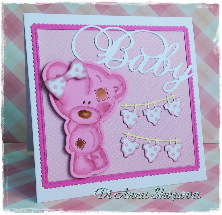 Me To You Tatty Teddy baby girl card . DIES: Marianne Design Creatables LR0217 ~~~ Memory Box Baby Clothes Style N 98625 ~~~ Trimcraft Me To You Tiny Tatty Teddy TTTD1002