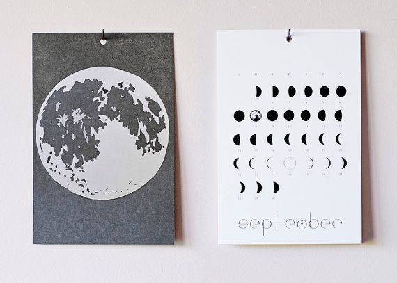 2014 Lunar Calendar /// Year Of Moons by KinOfKin on Etsy, $25.00