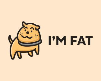 Cute Fat Dog Cartoon Logo Design