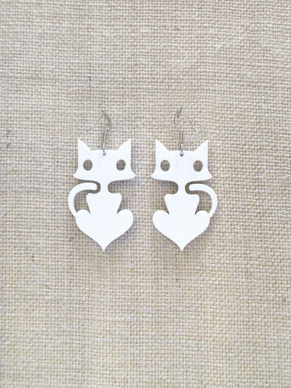 Cute cat earrings Plexiglass jewelry Various colors by muchoshop, $12.00