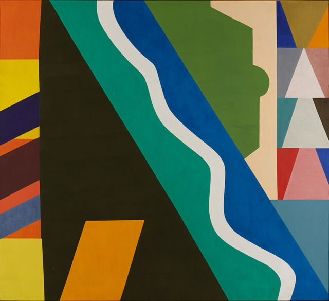 """Shirley Jaffe """"The White Line"""" (1975), oil on canvas, 77.25 x 85in (196.2 x 216cm)"""