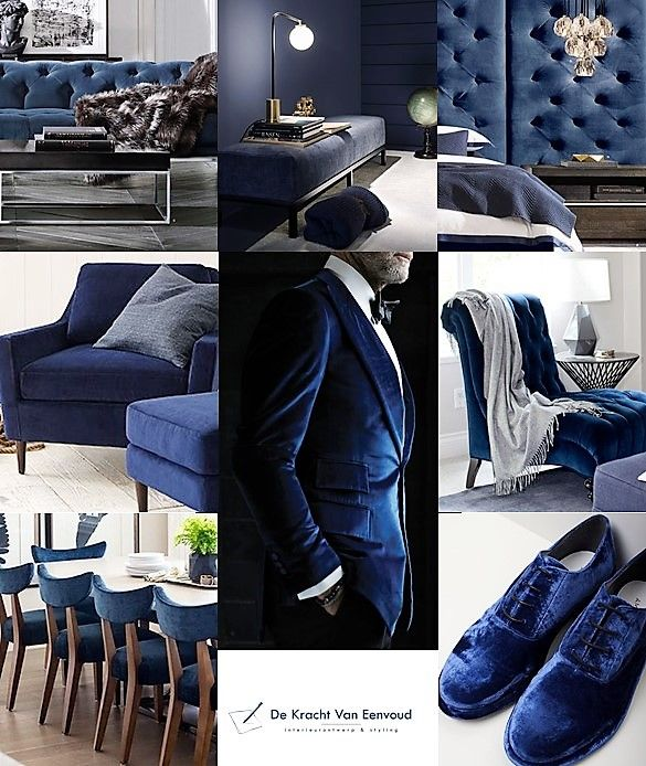 interior inspiration dark blue velvet / interieur inspiratie donker blauw fluweel