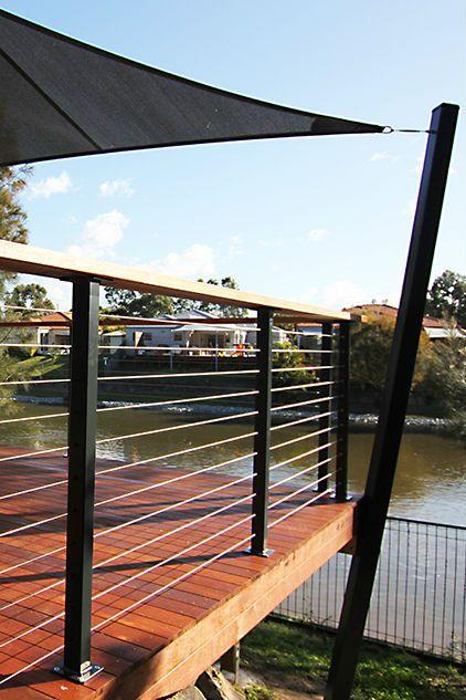 Wire balustrades and shade sail