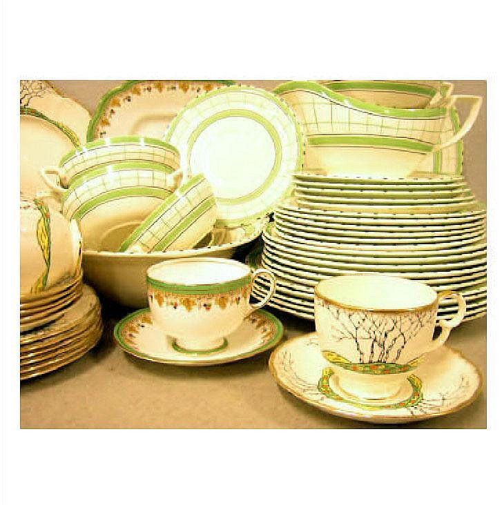 Sydney British Anchor 'Cottage Green' dinner set, a Crown Devon 'Glenwood' pattern teaset, and an Aynsley teaset. 1950s 'Cottage Green' set is decorated with green and black lines with dashed rims. It has the printed Cottage Green registration marks, and the Sydney British Anchor England transfer printed crown mark on some of the pieces.