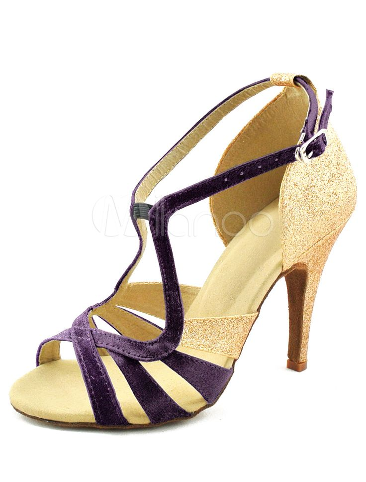 Chaussures danse latine creusées en satin à peep-toe