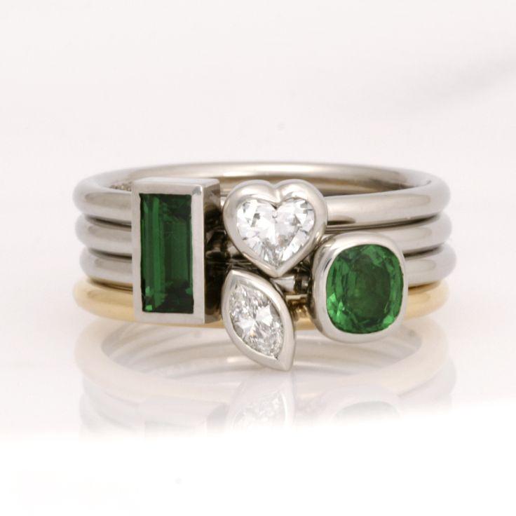 www.robertpaul.com.au Ladies palladium and 18ct yellow gold stacker rings featuring diamonds and tsavorite garnets. wwwrobertpaul.com.au