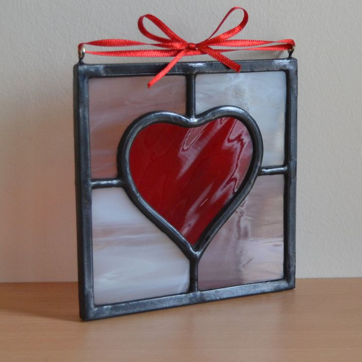 Small heart hanging panel - Designed and made by Radiance Stained Glass.