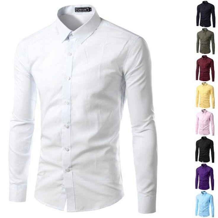 Men Long Sleeve Slim Fit Dress Shirts Vestidos Camisa Social Masculina Shirt