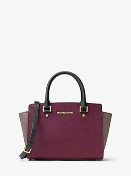Selma Medium Color-Block Leather Satchel by Michael Kors