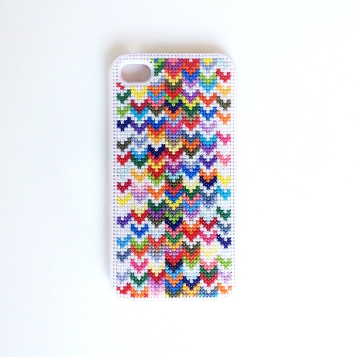 Ombre Rainbow Chevron Cross Stitch iPhone 4 by BritterflyGarden