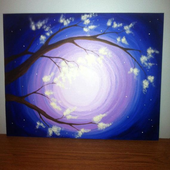 16x20 original acrylic painting on canvas panel purple blue twilight night sky flowering tree via Etsy