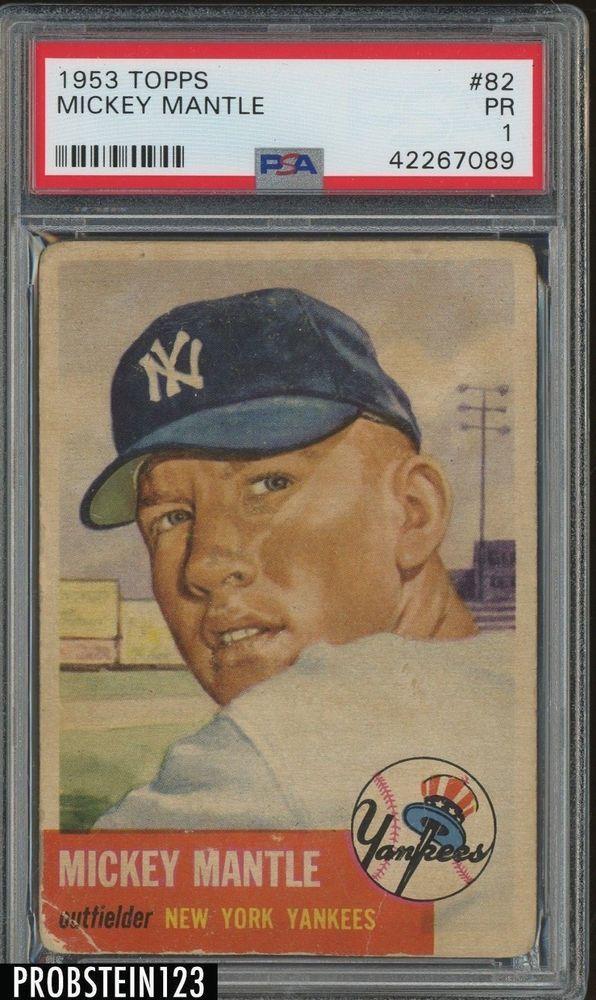 1953 Topps 82 Mickey Mantle New York Yankees Hof Psa 1 Psa Graded