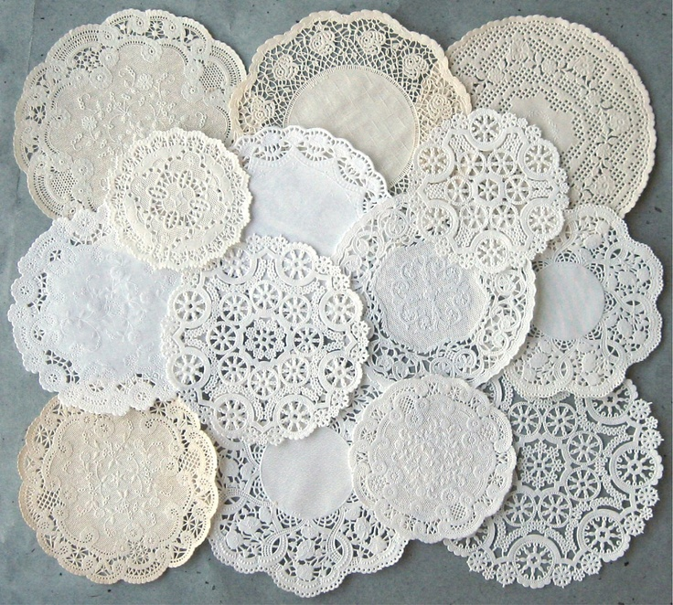 ivory paper doilies 8 round doily in ivory european lace and ivory fabric other lengths and matching items are available from doily boutique if i don't have a length or width listed, please send me a private message because sizes are almost unlimited 100% polyester, machine washable, dryer dryable.