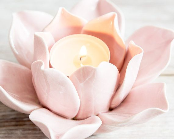 Ultra Feminine Ceramic Lotus Flower Tealight Holder
