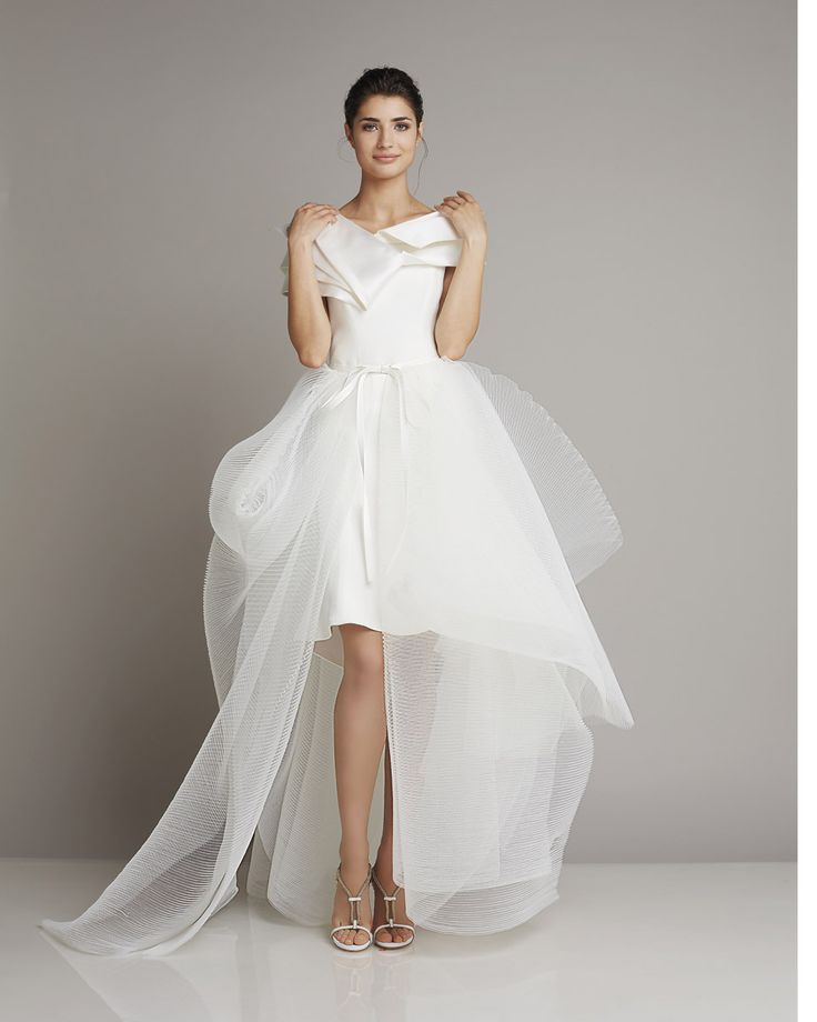 Extravagant mullet wedding dress of silk and tulle with exciting Carmen Neck Giuseppe Papini