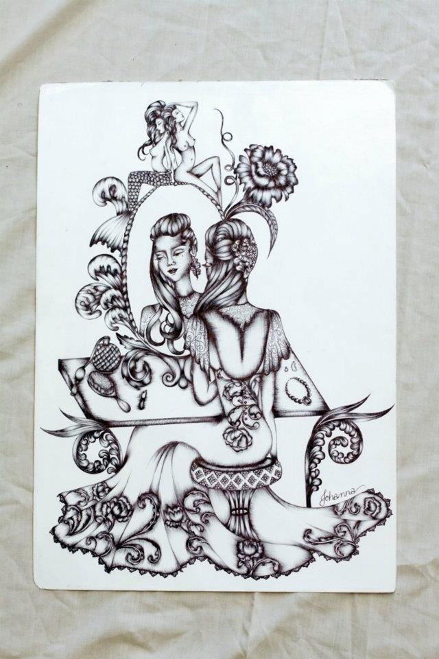 'In Vivienne's room' illustration by Johanna Hawke