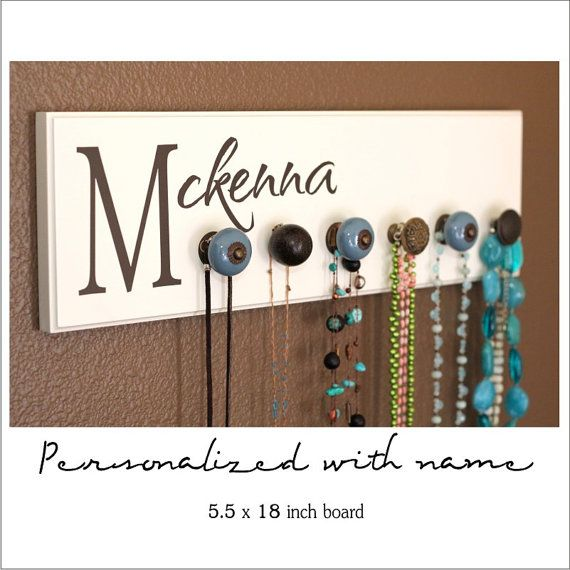 vinyl name on jewelry board... great gift item! Flush back for easy hanging! check it out at lola decor or oliver & lily - ETSY