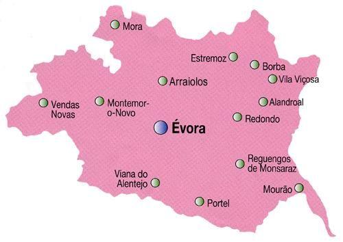 Mapa do Distrito de Évora, Portugal