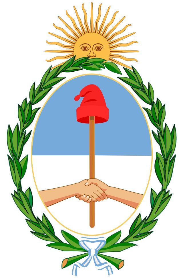 Coat of arms of Argentina - O Brasão de armas da Argentina foi estabelecido no seu formato atual em 1944. No topo está o Sol de Maio que simboliza a ascensão da Argentina, e é por isso que ela está posicionada em uma posição de ascensão. As mãos unidas simbolizam a união das províncias argentinas. Elas seguram uma lança que simboliza a defesa da liberdade, simbolizada pelo barrete frígio no topo da lança. As cores azuis e branca são símbolos do povo argentino. Os louros que significam…
