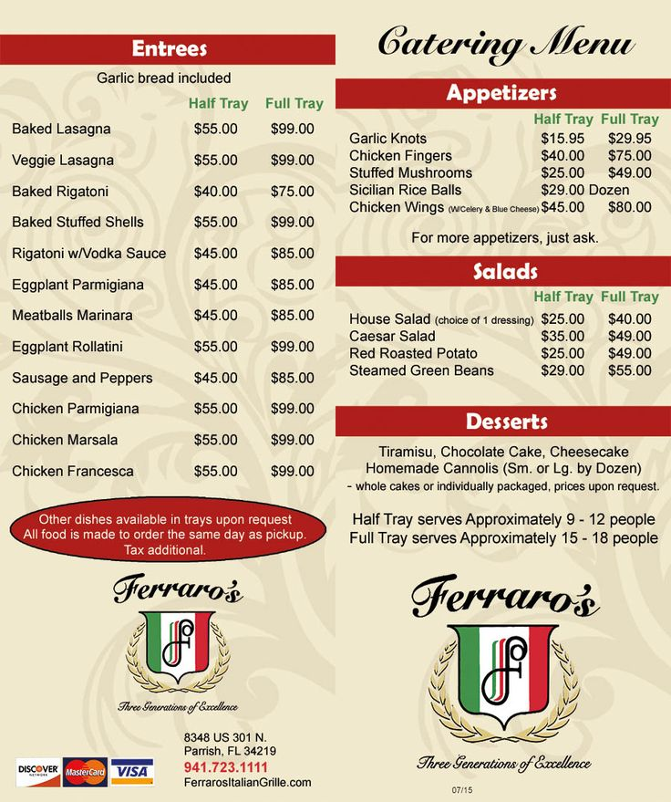 Please feel free to print out our catering menu | Ferraro's Italian Catering Menu | Caterer Catering Parrish Ellenton Sun City Center Lakewood Ranch